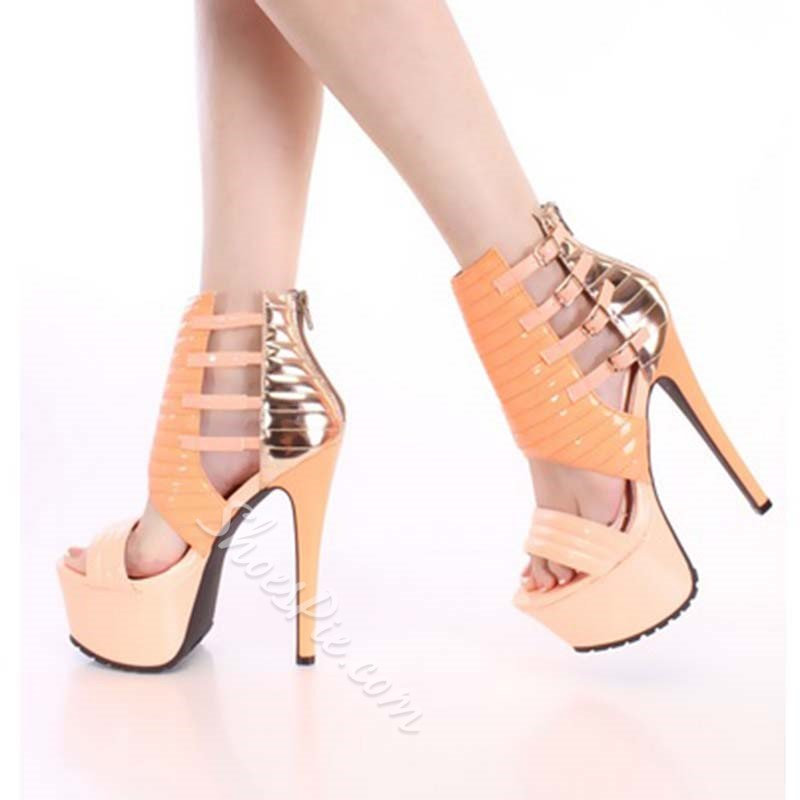 Shoespie Stylish Contrast Color PU Cut-Outs Platform Sandals