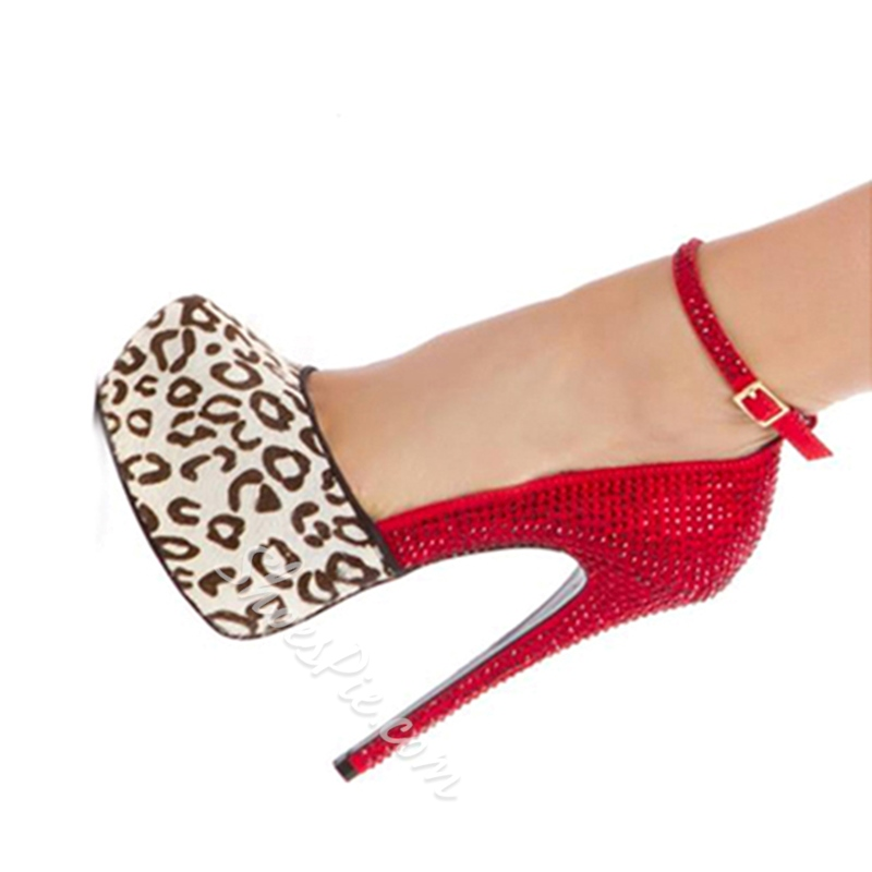 Shoespie Leopard Grain & Red Contrast Colour Suede Platform High Heel Shoes