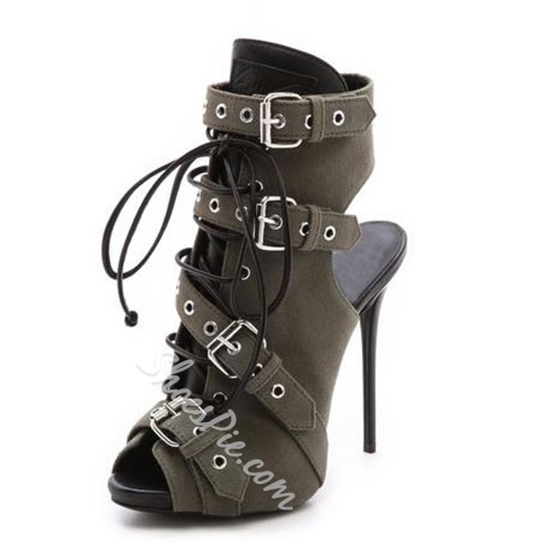 Spectacular Coppy Leather Buckle Ankle Boots