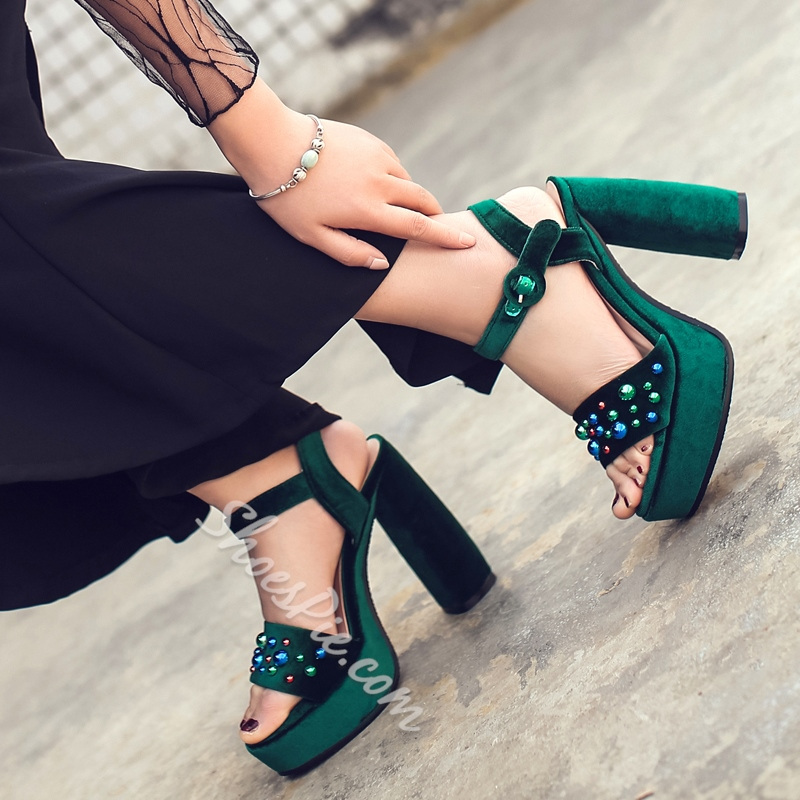 Shoespie Velvet Block Heel Sandals