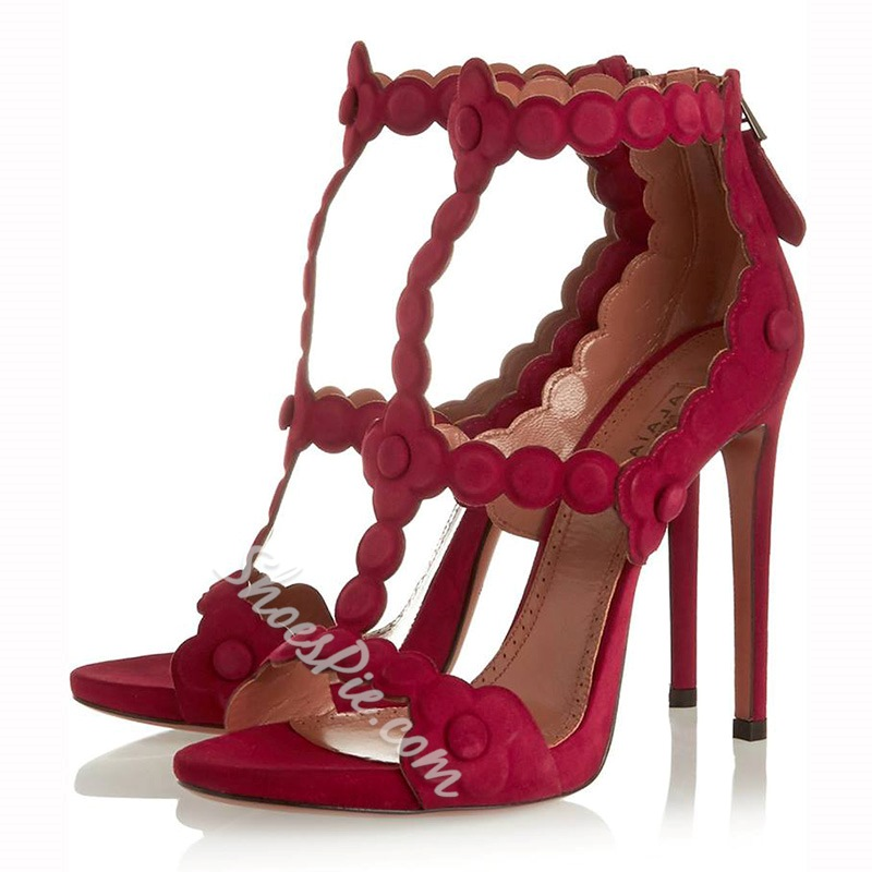 Shoespie SexyBurgendy Suede Stiletto Sandals