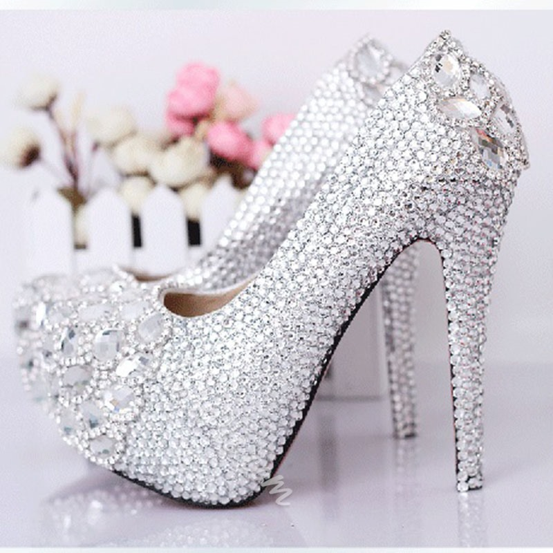 Gorgeous Rhinestone Copy Leather Platform Heels