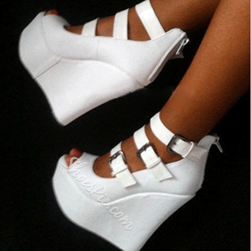 Elegant White Strap Buckle Wedge Sandals
