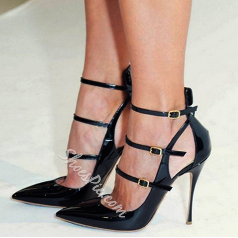 Good-looking Ankle Strap Pointed-toe Heels- Shoespie.com