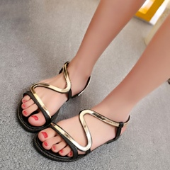 Shoespie Cute Metal Curve Strappy Flat Sandals
