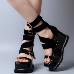 Shoespie Leather Ankle Wrap Wedge Sandals