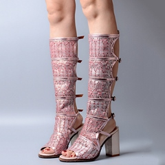 Shoespie Open Toe Summer Knee High Sandal Boots