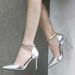 Shoespie Shine Leather Ankle Wrap Stiletto Heels