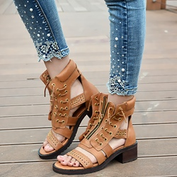 Shoespie Leather Lace Up Flat Sandals
