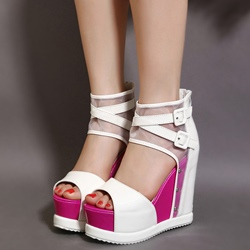 Shoespie Mesh and Buckles Ankle Wrap Wedge Sandals