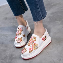 Shoespie Delicate Flora Embroidery Flip On Casuals