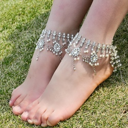 Shoespie Gorgeous Bohemia Rhinestone Layered Anklet
