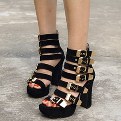 Shoespie Leather Strappy Buckles Chunky Heel Sandals