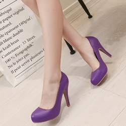 Shoespie Solid Color Platform Heels