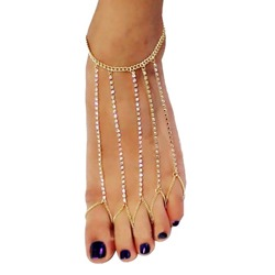 Shoespie Stylish Golden Rhinestone Anklet