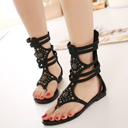 Shoespie Black Beading Gladiator Sandals