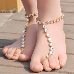 Shoespie Elegant Teardrop Toe Ring Anklet