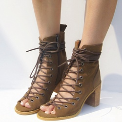 Shoespie Leather Lace Up Sandal Booties
