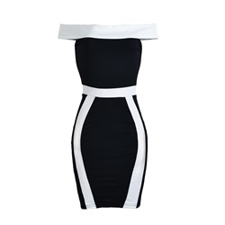 Shoespie Slash Neck Color Block Bodycon Dresses