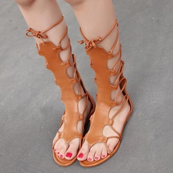 Shoespie Back Zipped Lace Up Gladiator Sandals