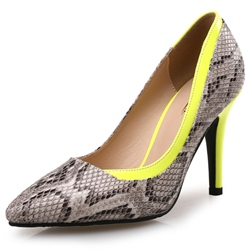 Shoespie Pointed Toe Slip-On Color Block Serpentine Stiletto Heel