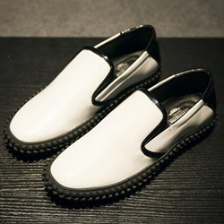 Shoespie Black and White Men's Loafers