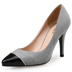Shoespie Office Wear Black Cap Toe Stiletto Heels