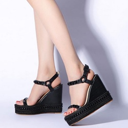 Shoespie Solid Color Buds Purfled Wedge Sandals