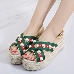 Shoespie Manmade Pearls Slingbacks Braided Platform Sandals