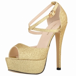 Shoespie Gorgeous Glitter Cross Wrap Platform Heels