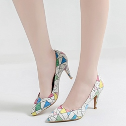 Shoespie Cute Kaleidoscope Print Stiletto Heels