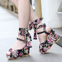 Shoespie Romantic Flora Ankle Wrap Wedge Sandals