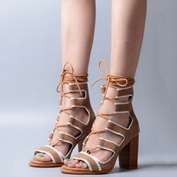 Shoespie White Trim Lace Up Wooden Block Heel Sandals