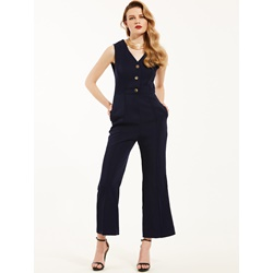 Slim Plain Wide Legs Jumpsuit