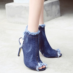 Shoespie Slouchy Denim Blue Fashion Booties