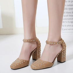 Shoespie Chic Rivets Ankle Wrap Block Heels