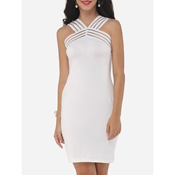 Shoespie White Off Shoulder Sheath Bodycon Dress