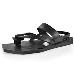 Shoespie Original Black Genuine Leather Men's Sandals