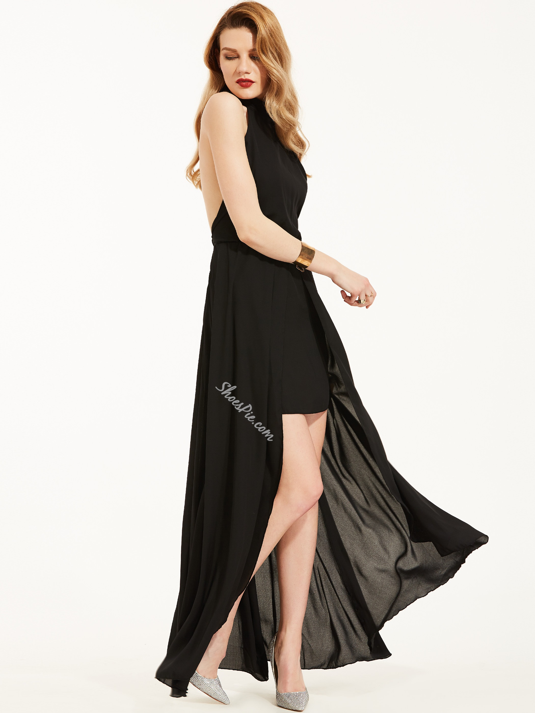 Stand Collar Sleeveless Backless Maxi Dress