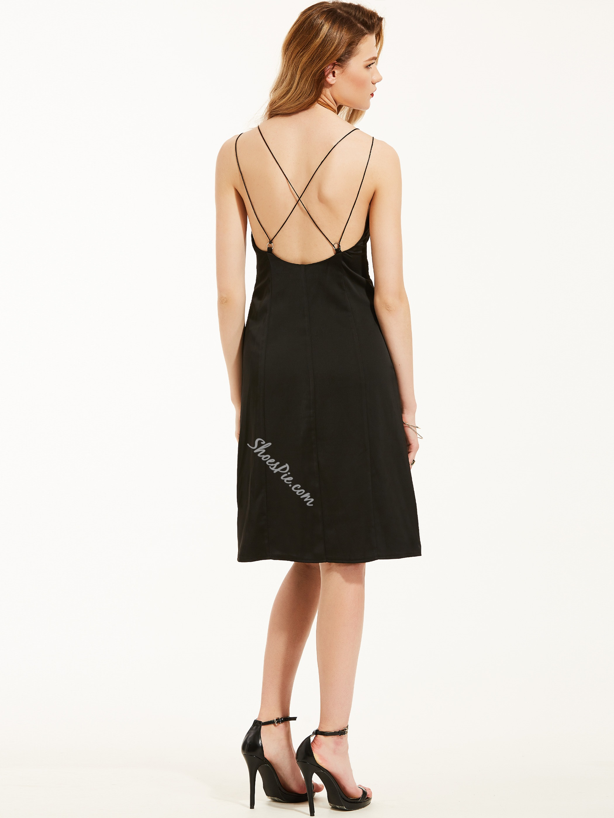 Spaghetti Strap V-Neck Backless A-Line Dress
