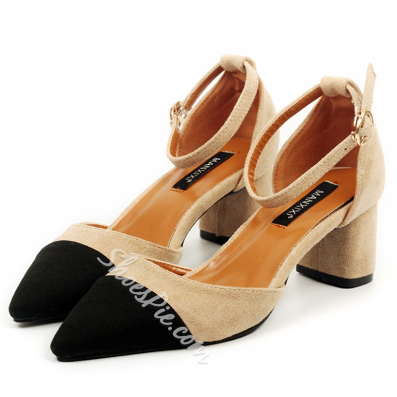 Shoespie Two Tone Color Block Chunky Low Heels