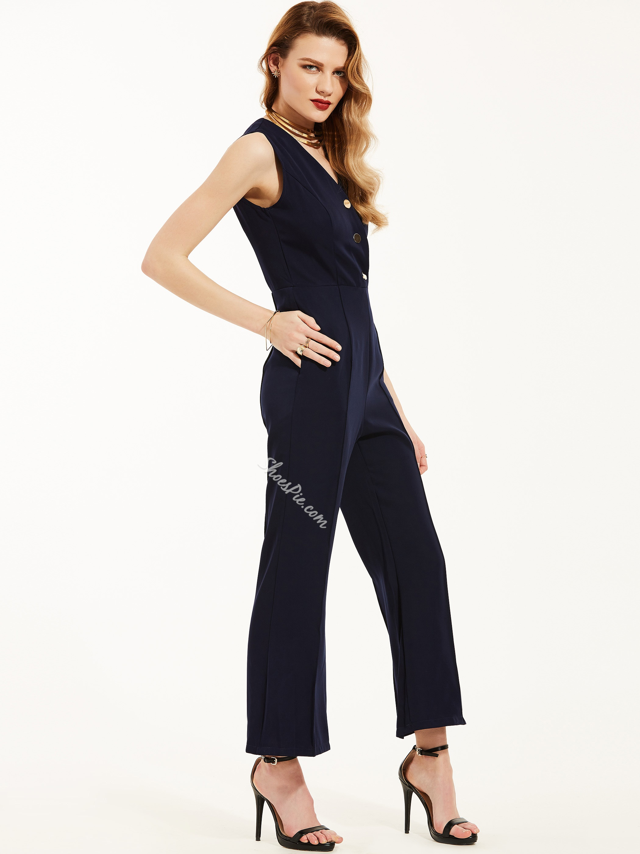 Shoespie Slim Plain Wide Legs Jumpsuit