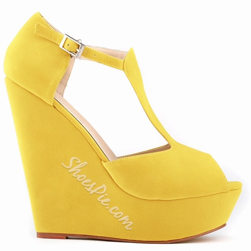 Shoespie Solid Color T Strap Wedge Heels