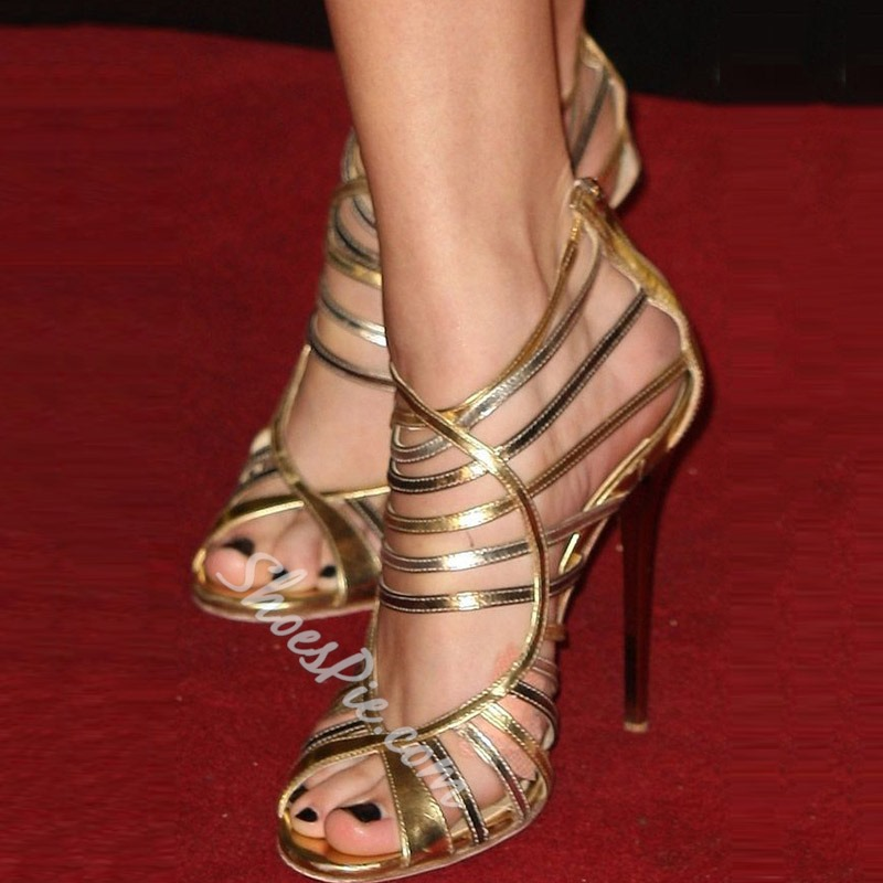 Shoespie Golden Cut-out Zipper Dress Sandals