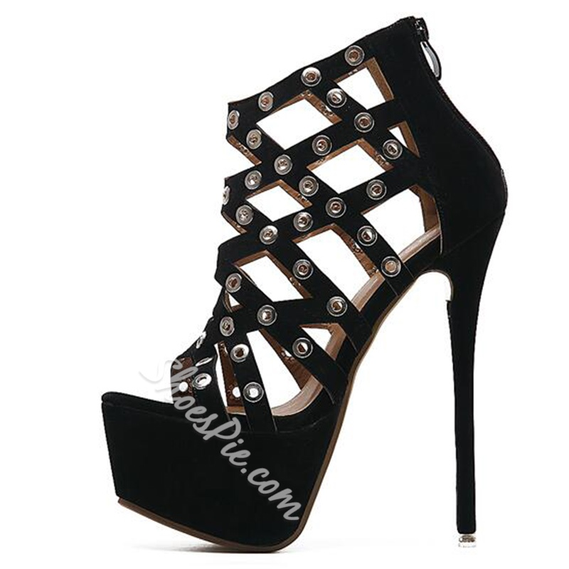 Shoespie Black Cut Outs Metal Holes Platform Heel Sandals