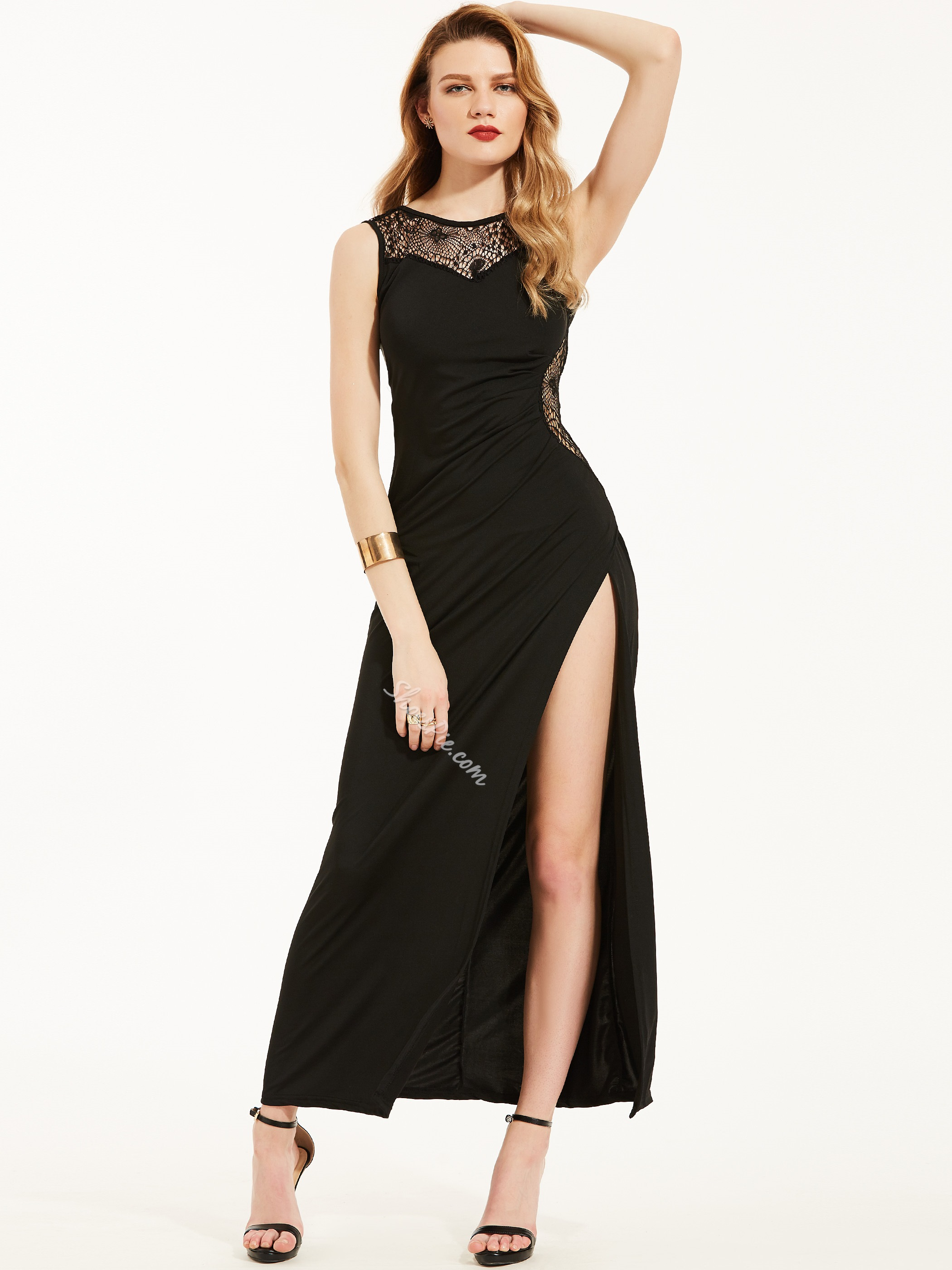 Round Neck Hollow Backless Maxi Dress