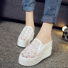 Shoespie Mesh Embroidery Flip On Sneakers