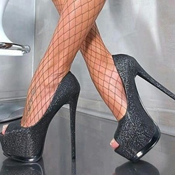 Shoespie Gorgeous Sequined Night Out Platform Heel