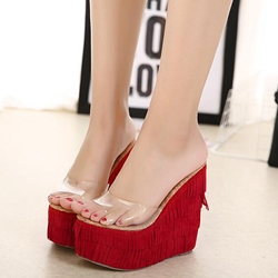 Shoespie Fringes Wedge Mules