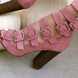 Shoespie Sweet Pink Buckled Chunky Heel Fashion Booties